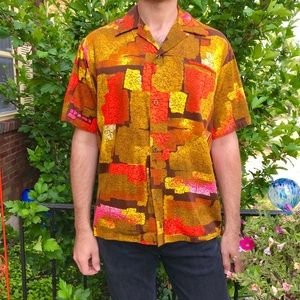 0e890542 Vintage 1960s Hawaiian barkcloth men's shirt M/L